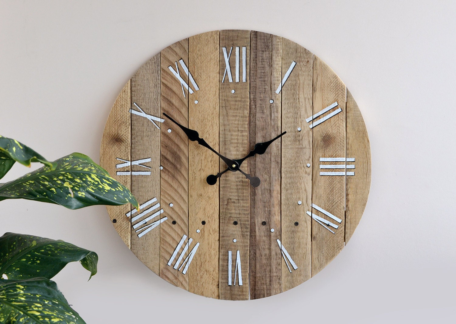 unique rustic wall clock large wall clock by storiadellorso