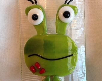 Nightlight Fused Glass Friendly Green Monster