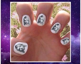 Kurt Cobain // Nineties // 90s // Trends  // Nail Decals Transfer Nail Stickers // Rock n Roll // Alternative // Grunge // Nevermind