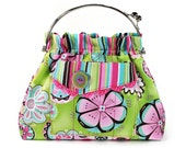 Handbag Hot Pink Lime Green Flowers Shoulder Bag