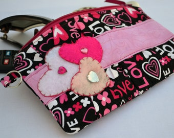 valentines day clutch, heart Clutch, valentines day gift, purse, zippered pouch, summer clutch, pink wristlet, wedding clutch, clutch