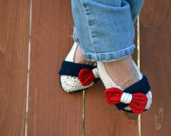 Patriotic crochet slippers, womens slippers, womens crochet slippers, American flag slippers, crochet socks, red white and blue slippers