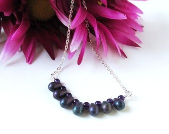 Purple Iris Bar Necklace - Czech Glass Necklace - Monana Blue Necklace - Minimalist Necklace