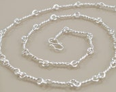"""Hand-Wrought Sterling Twist Link Chain Necklace - 18 1/2"""""""