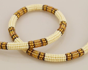 Ndebele Stitch Beadwork Necklace - Ivory, Gold, and Bronze