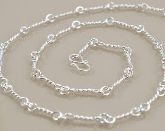Hand-Wrought Sterling Twist Link Chain Necklace - 18 1/2""