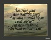 amazing grace calligraphy print