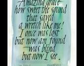 amazing grace calligraphy print 11 x 14
