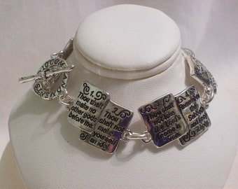 Bracelet, silver scripture link, tablet links, toggle clasp extra link for extending, 7 1/2 inch, Free USA shipping only