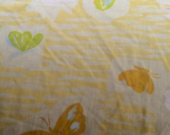 Vintage Butterfly Patterned Twin Flat Sheet