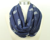 Owl Infinity Scarf,Scarf, Infinity Scarf, Circle Scarf, Loop,Soft and Warm,Light Weight Scarf,Navy