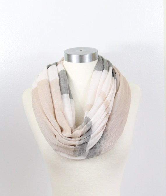 Colorblock Stripe-Beige,Infinity Scarf,Loop scarf,Soft and Light