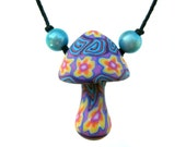 SALE Mushroom pendant, pretty millefiori flower and spiral patterns, handmade, polymer clay, colorful flower power necklace, one of a kind