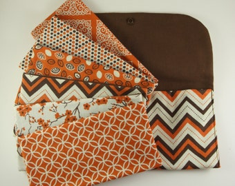Cash Envelope System Wallet, Cash Envelopes & Pouch -Rust n Brown Chevron- (It can be used with the Dave Ramsey system)