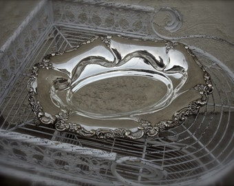 Vintage large silver plate bowl, silver fruit bowl, silver ornament bowl