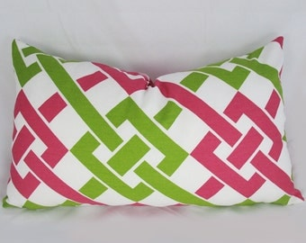 Decorative Pillow Cushion Cover - Accent Pillow - Throw Pillow - Duralee - Pink/Green - Trellis - Lattice - 12 x 20 inch
