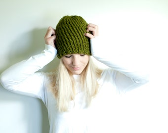 the LENOIR hat - chunky knit hat womens slouchy hat beanie - olive/cilantro