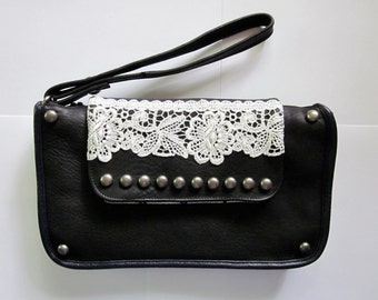Studded and Striped Black & White Leather and Lace Clutch