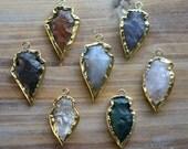 1 - Gemstone Arrowhead Charm Gold Plated Brass Wrapped Gemstone Bead Arrowhead Charm Indian Arrowhead Jewelry Making Supplies (R002-R007)