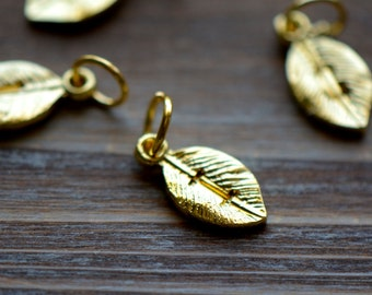 Stamped Alphabet Leaf Charms Stamp Charms Initial Charm 24K GOLD PLATED Monogram Letter Alphabet (AU181-AU206)