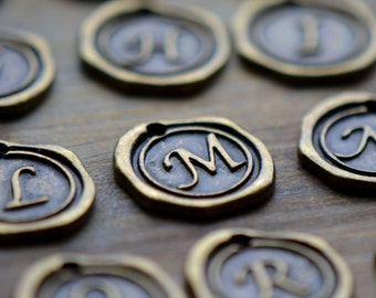 Alphabet Wax Seal Stamp Charms Initial Charm ANTIQUE BRONZE Monogram 20mm Round Disc Monogram Letter Alphabet (E010-E035)