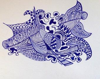Original Blue Ink pen doodle drawing 11