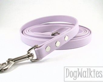 "Pastel Purple Lavender Biothane Dog Leash // 5/8"" - 16mm // Choice: 4, 5 or 6 Ft - 1.2, 1.5 or 1.8 m and Hardware type // Leather Look Feel"