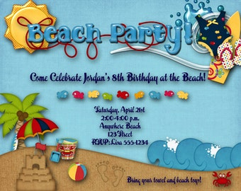 Beach Party Birthday Party Invitation