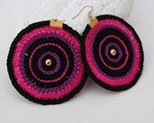 Black, fuchsia, purple earrings - Crochet earrings - Textile fashion jewelry - Modern earrings - Round earrings