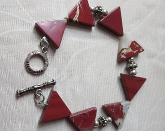 Apple Jasper Triangles and Sterling Silver Bracelet