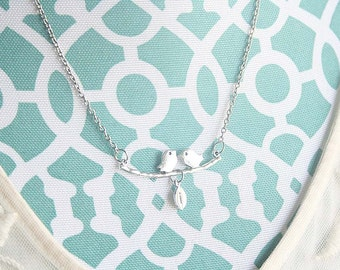 Initial Love birds necklace