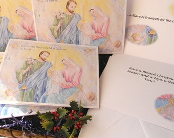 Christmas Cards Holy Family, Christmas Cards, Holy Family,Nativity Cards, Pack of 5 (Folded 5x 7 inches cards),  Christian art