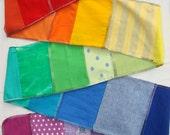 Rainbow T Scarf Stripes w/ Sparkles & Dots