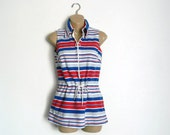 1960's Jantzen Swimwear Cover Up Red White Blue Stripes Mod Beach Bikini Womens