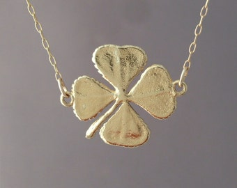 Double Connected Gold Four Leaf Clover Necklace
