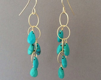 Turquoise Teardrop Circle Chain Earrings in Gold or Silver