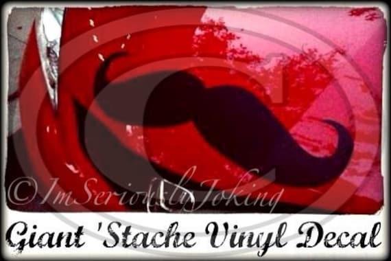 Giant Car Mustache Vinyl Decal -Little Man Party-Mustache sticker-Mustache party-car decal- The Handlebar-handlebar mustache-props
