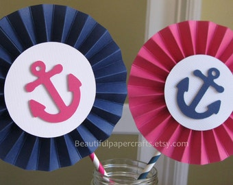 2 6 nautical rosettes centerpieces paper fanswhale pink nautical 1st birthday - Nautical Party Decorations