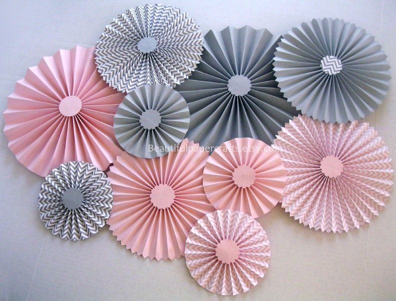 10 Pc Pink And Gray Chevron Rosettes Paper Fans Pinwheel