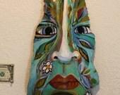 """Palm Tree Bark Paintings -- """"Island Tiki Mask"""" Painted by Gjen Mallory"""