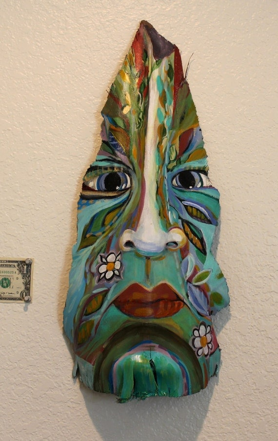 Palm Tree Bark Paintings Island Tiki Mask