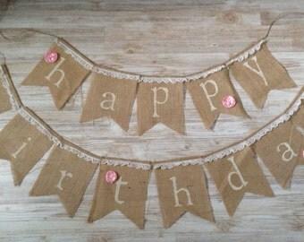Shabby Chic Happy Birthday Burlap Banner Pendant Bunting tea party lace