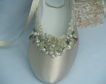 Brides Wedding Flats Champagne Gold hand dyed, Gold Rosette Flowers, Pearls & Crystals, Lace Up Ballet Style Slipper, Deco, Retro, 20s