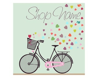 Premade Etsy Banner Set Avatar Retro Bicycle Romantic Love Style Basket Full Of Color Hearts Birds Pattern 9 not OOAK images Ride My Bike