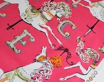 Carousel in Pink - White Horses - Dear Stella Fabrics - Stella-154 - 1/2 Yard