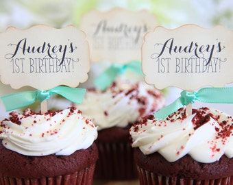 Happy Birthday Cupcake Toppers, Custom, Vintage, Shabby Chic