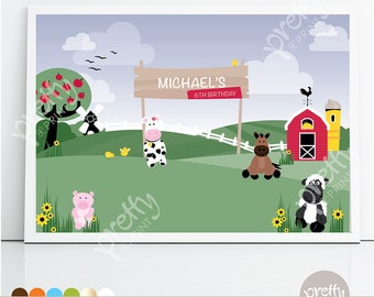 Printable Backdrop | Down to the Farm | Personalised Digital PDF