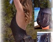 Leather leaf pocket belt/ fanny pack/ utility belt/ festival belt / burning man belt M