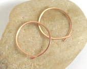 14K Rose Gold Filled Open End Hoop Earrings, 20 Gauge Hammered Loop Hoops, Pink Gold Hoops, Hand Crafted Hoops, One Inch Hoops