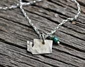 Silver State Jewelry.  Washington Necklace.  Small State Charm.  School Spirit Jewelry.  Fine Silver Jewelry.